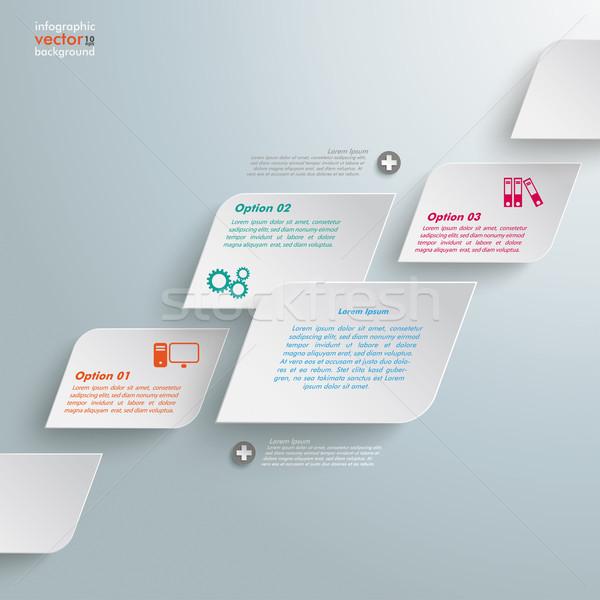 Bevel Rectangles 3 Options Infographic Stock photo © limbi007