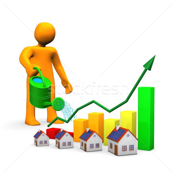 Sulama evleri turuncu karikatür evler renkli Stok fotoğraf © limbi007