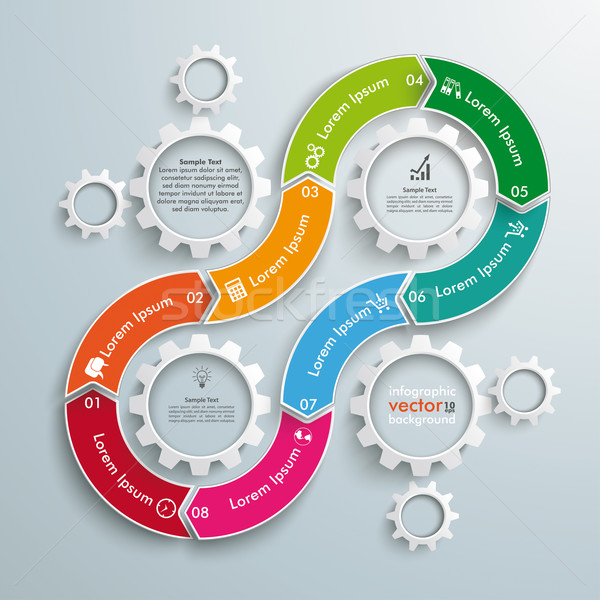 8 Gears Cycle 8 Options Gear Infographic Stock photo © limbi007