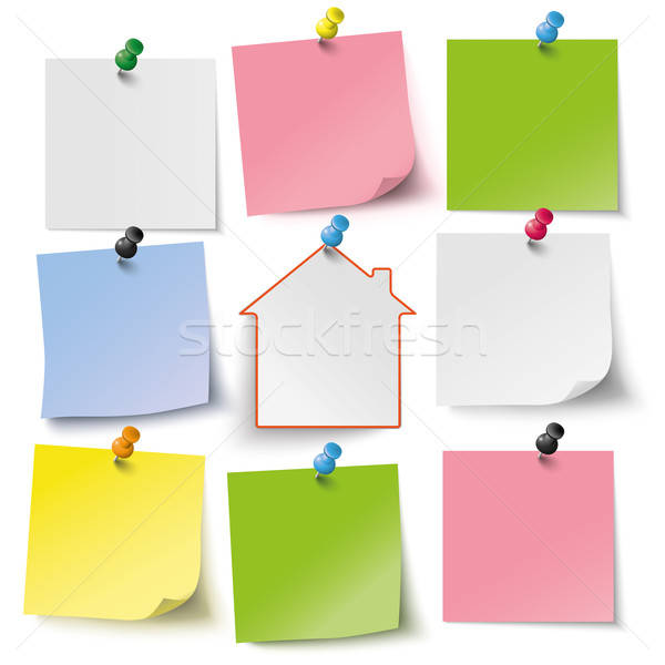 8 Colored stickers Thumbtacks House Stock photo © limbi007