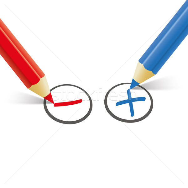 Red Blue Pen Pro Contra Stock photo © limbi007