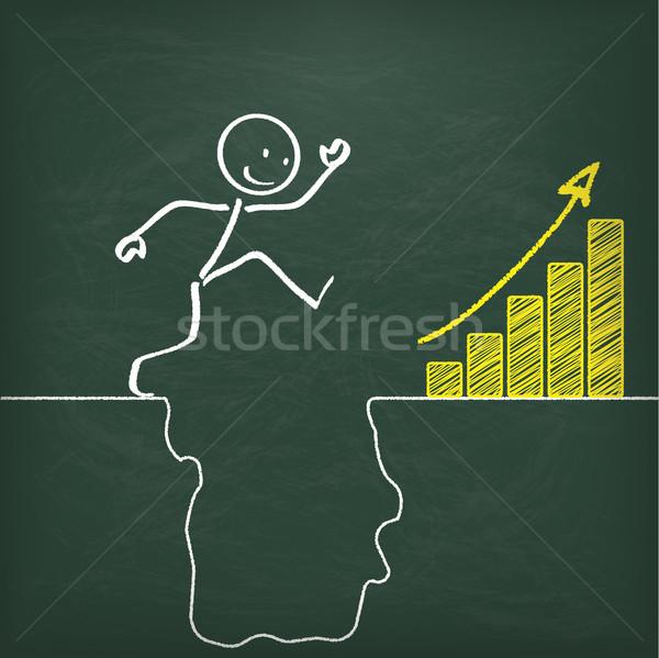 Blackboard Stickman Conquers Rift Chart Stock photo © limbi007