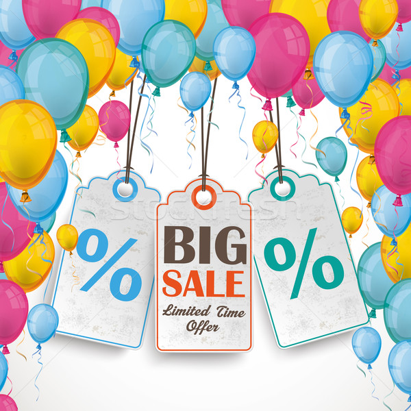 Colored Balloons Curtain 3 Price Stickers Stock photo © limbi007