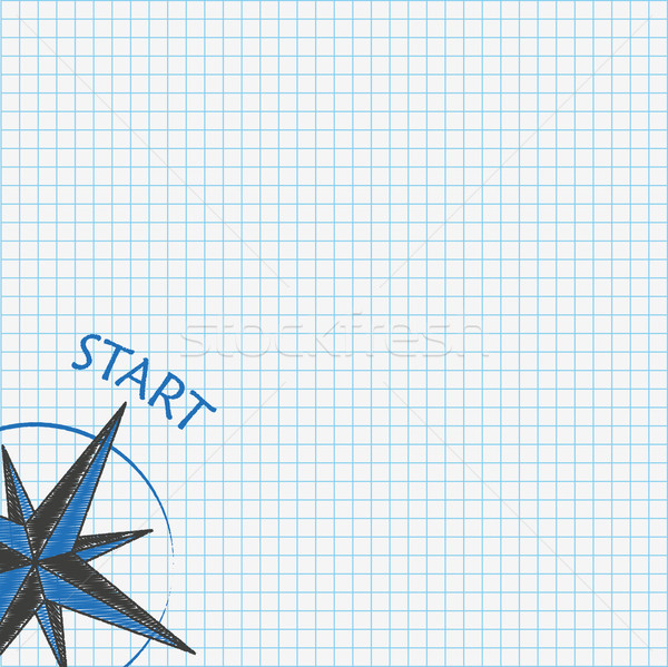 Checked School Paper Compass Start Stock photo © limbi007