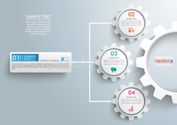 Stock photo: Network Symbol Infographic 3 Gears