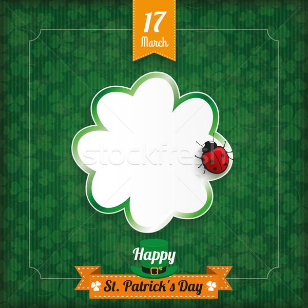 Szent Patrik napja klasszikus shamrock katicabogár borító szalag Stock fotó © limbi007