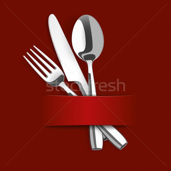 Dark Red Cover Fork Knife Spoon Banner Stock photo © limbi007
