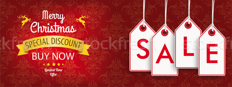 Christmas Discount Header Ornaments Price Stickers Sale Stock photo © limbi007