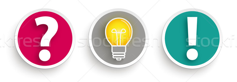 3 Buttons Question Idea Answer Stock photo © limbi007