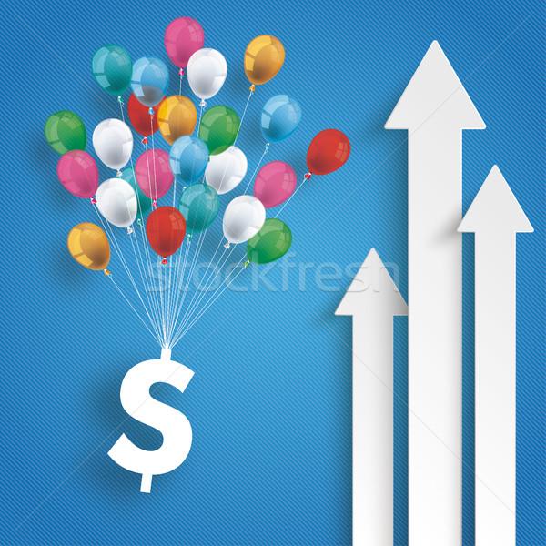 Three White Arrows Dollar Balloons Blue Background Stock photo © limbi007