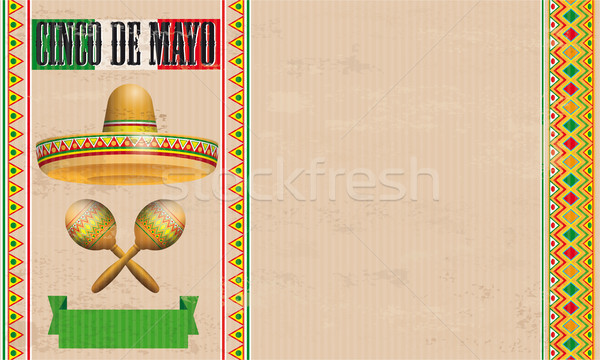 Cinco De Mayo Vintage Header Sobrero Maracas Stock photo © limbi007
