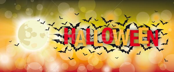 Full Moon Bats Halloween Bokeh Header Stock photo © limbi007