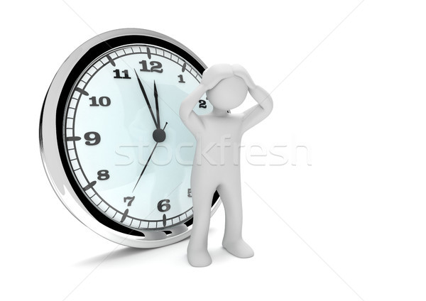 Désespérée horloge blanche grand 3d illustration femme Photo stock © limbi007