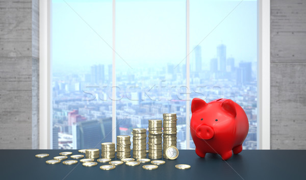 Red Piggy Bank Growth Chart Euro Coins Stock photo © limbi007