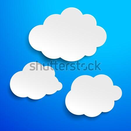 Three Clouds Blue Sky Label Stock photo © limbi007