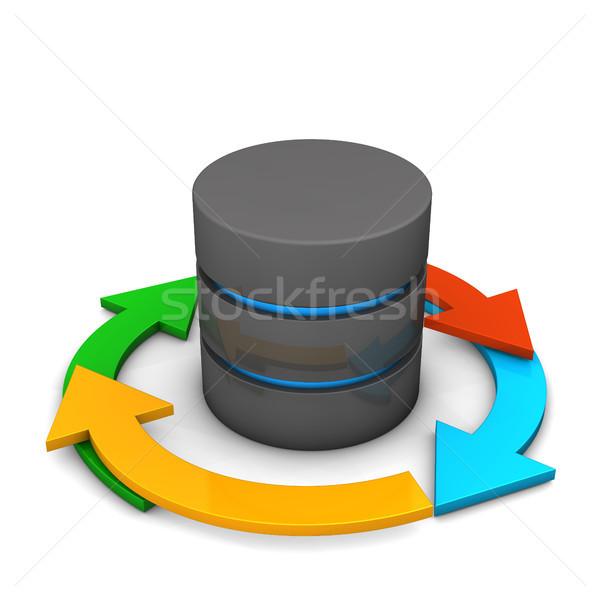 Datenbank Zyklus farbenreich Pfeile weiß Computer Stock foto © limbi007