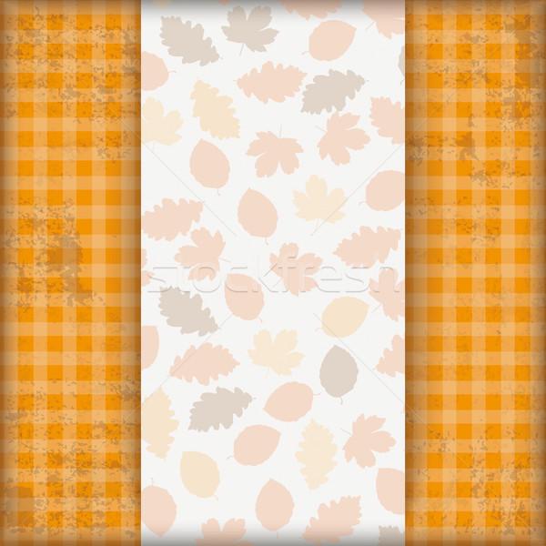 Vintage Autumn Checked Cloth Foliage Stock photo © limbi007