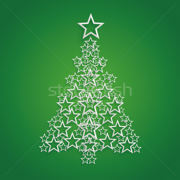 Stars Christmas Tree Green Background Stock photo © limbi007