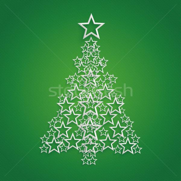 Csillagok karácsonyfa zöld eps 10 vektor Stock fotó © limbi007