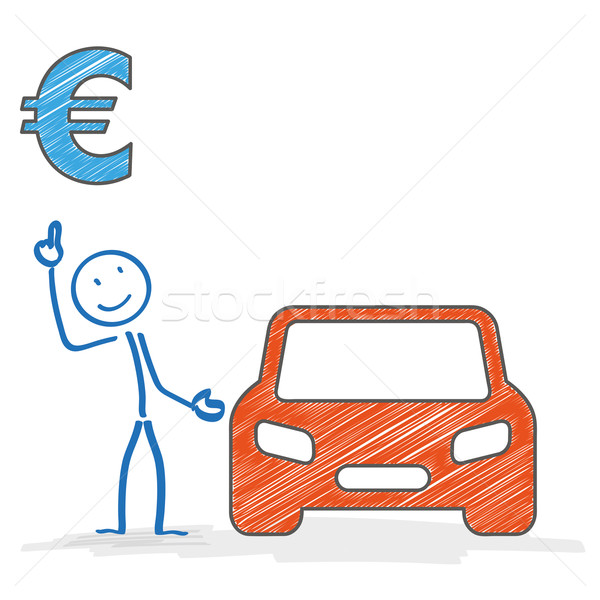 Stickman Car Euro Stock photo © limbi007