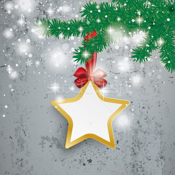 Golden Star Snow Lights Ribbon Fir Branch Concrete Stock photo © limbi007