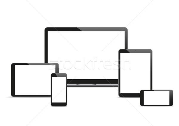 Vector ingesteld mobiele zwarte notebook smartphones Stockfoto © limbi007