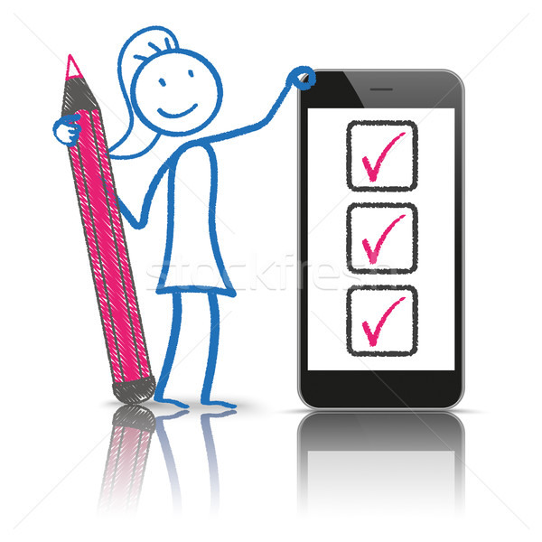 Stickwoman Checklist Smartphone Stock photo © limbi007