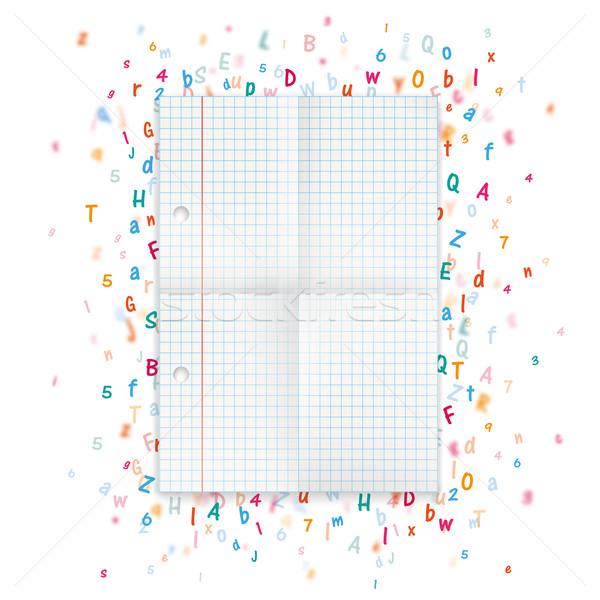összehajtva papír levelek számok fehér eps Stock fotó © limbi007
