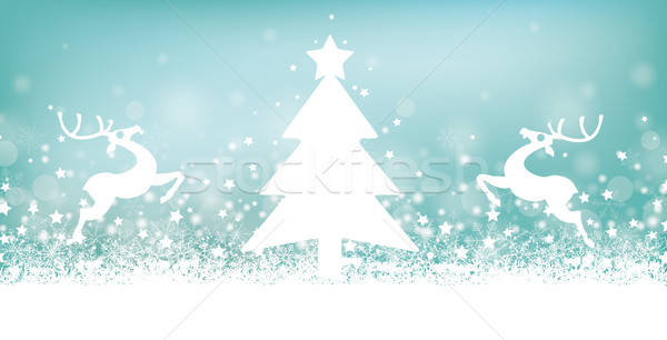 Cyan Christmas Card Header Snowflakes Reindeer Tree Stock photo © limbi007