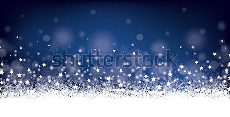 Night Christmas Card Header Snowflakes Stars Stock photo © limbi007
