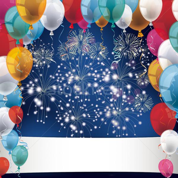 Feux d'artifice ballons bannière bleu eps Photo stock © limbi007