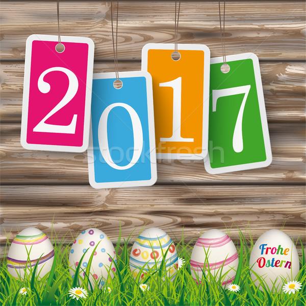 Easter Eggs Ostern Worn Wood Price Stickers 2017 Stock photo © limbi007
