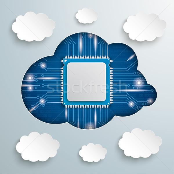 Microchip nube buco carta nubi Foto d'archivio © limbi007