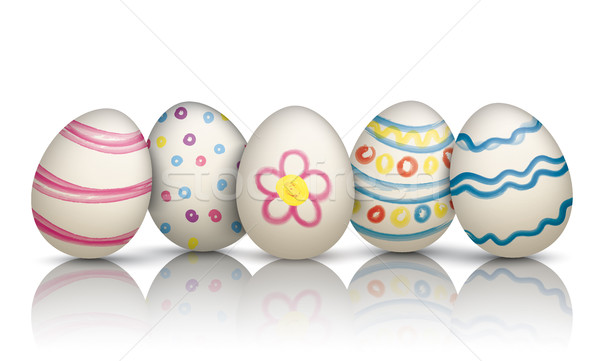 5 Colorful Natural Easter Eggs Frohe Ostern Stock photo © limbi007