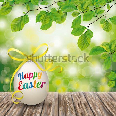 Fából készült föld húsvéti tojások embléma zöld természet Stock fotó © limbi007