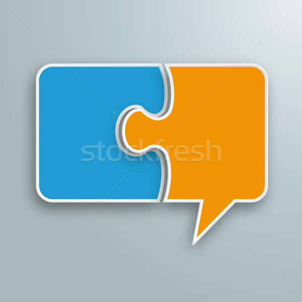 Gekleurd papier tekstballon puzzel grijs eps Stockfoto © limbi007