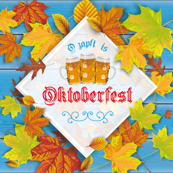 Blue Wood Autumn Foliage Frame Oktoberfest Stock photo © limbi007