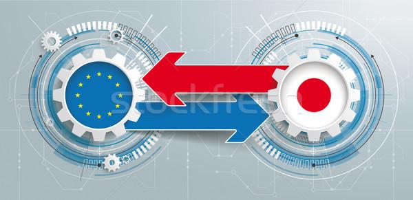 Japan EU 2 Gears Construction Arrows Headline Stock photo © limbi007