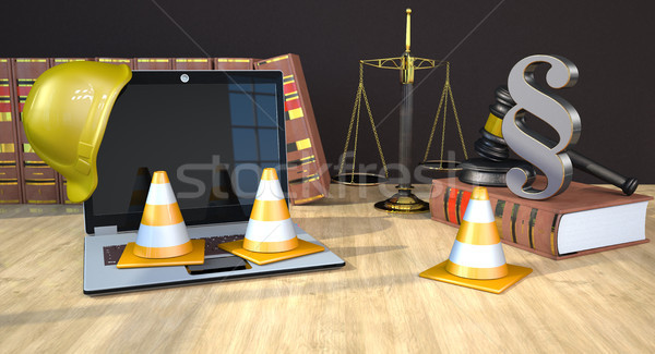 Website Under Construction Law Books Gavel Scale Stock photo © limbi007