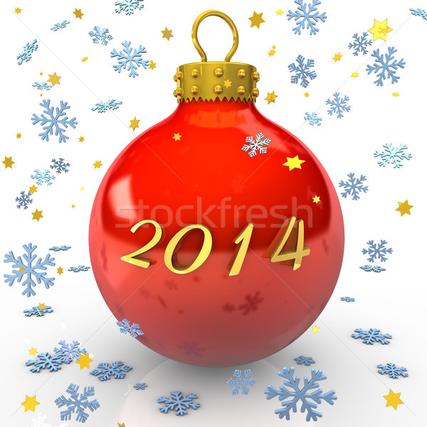 2014 testo Natale gingillo fiocchi di neve stelle Foto d'archivio © limbi007