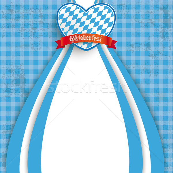 Blue Checked Cloth Oktoberfest Heart Stock photo © limbi007