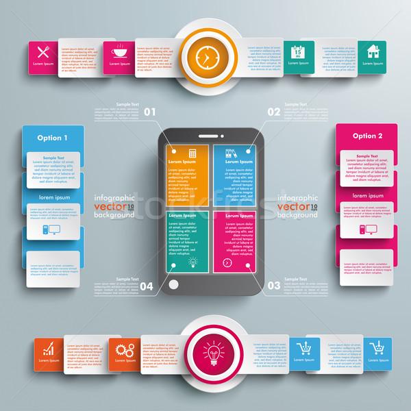 Fekete okostelefon lehetőségek nagy infografika kör Stock fotó © limbi007