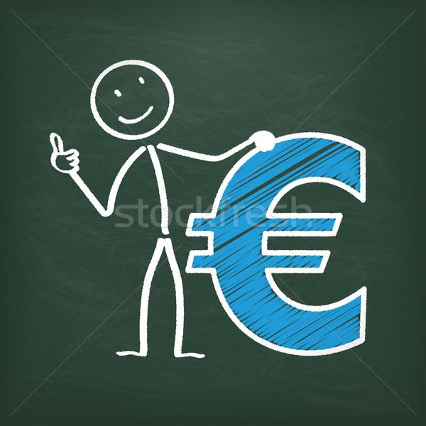 Lousa euro azul símbolo eps Foto stock © limbi007