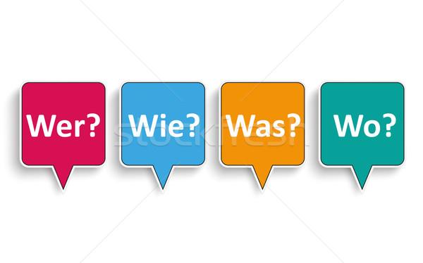 4 Speech Bubbles Wer Wie Was Wo Stock photo © limbi007