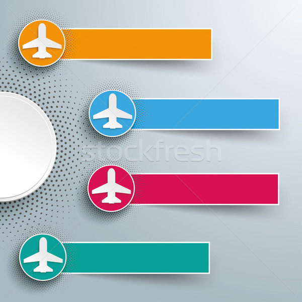 Infographic Halftone 4 Circles Banners Jets Stock photo © limbi007
