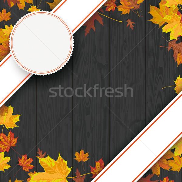 Black Wood Background Bevel Banners Stock photo © limbi007
