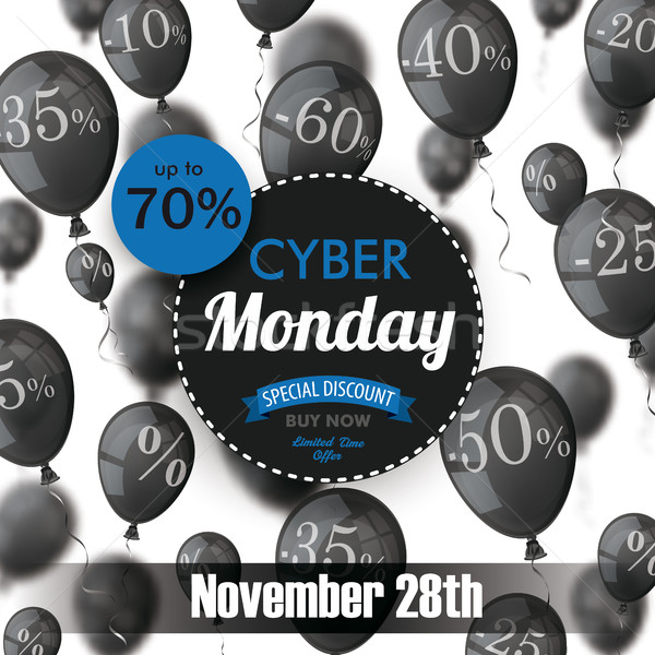 Cyber Monday Circle Label Balloons Percents Stock photo © limbi007