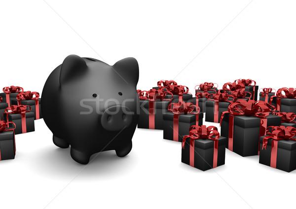Preto piggy bank presentes branco ilustração 3d fundo Foto stock © limbi007