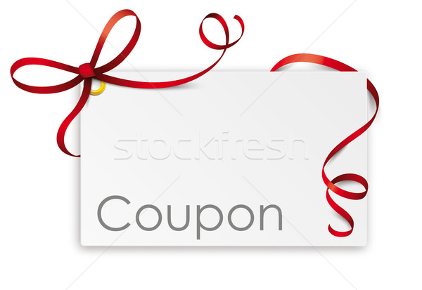 Coupon Card Red Ribbon Bow Stock photo © limbi007