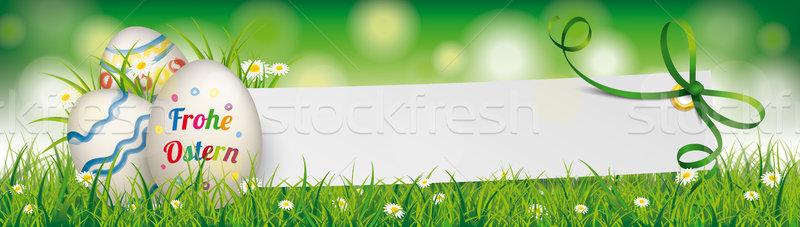 Stok fotoğraf: Doğal · easter · egg · kâğıt · afiş · yeşil · şerit